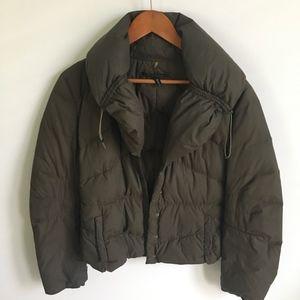 Elie Tahari army green puffer coat hidden hood